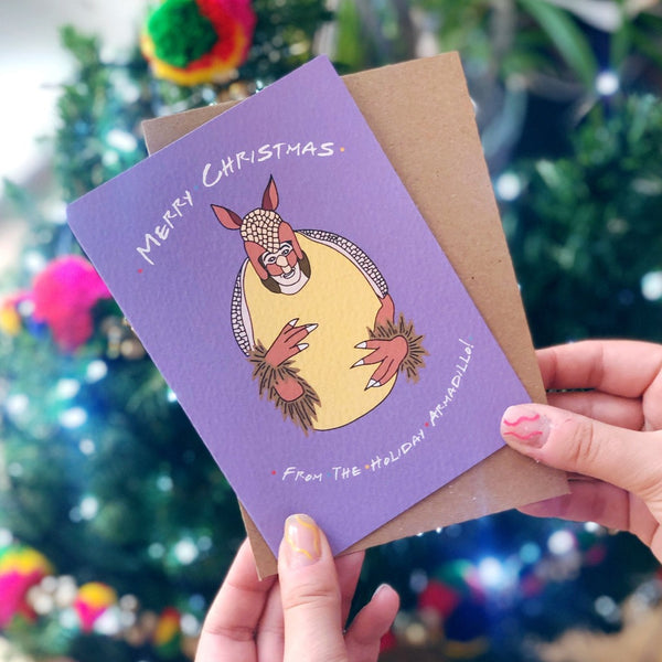 Holiday Armadillo Friends TV Show Christmas Card Braw Wee Emporium