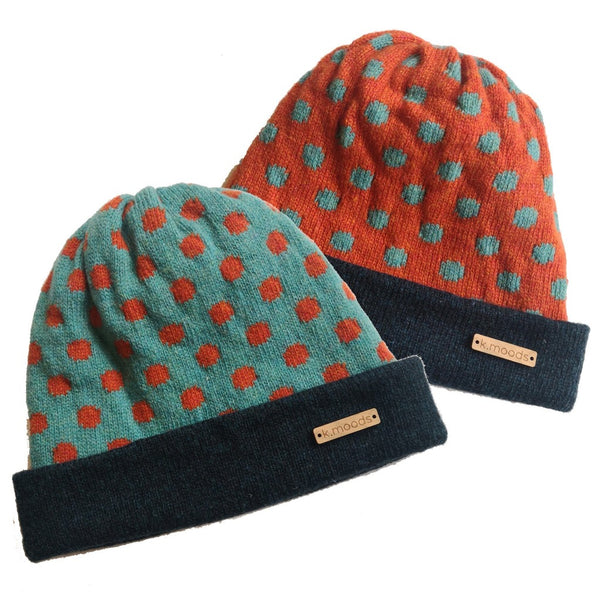 Blue & Orange Polka Dot Wool Reversible Beanie Hat - K Moods Knitwear Braw Wee Emporium
