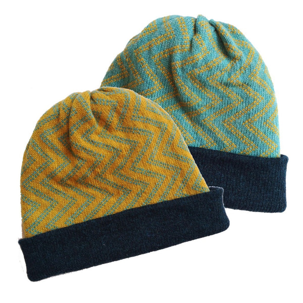 Yellow/Blue Ziggy Reversible Wool Beanie Hat - K Moods Knitwear Braw Wee Emporium
