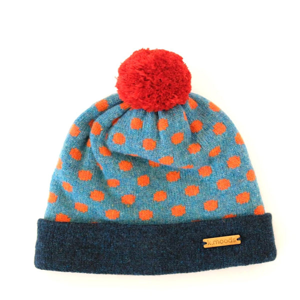 Blue & Orange Polka Dot Wool Hat - K Moods Knitwear Braw Wee Emporium