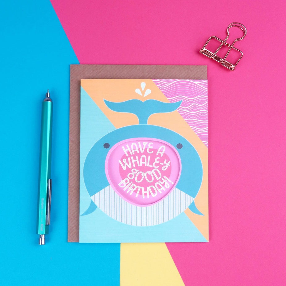 Shouting Whale Birthday Card - Kate & The Ink Braw Wee Emporium