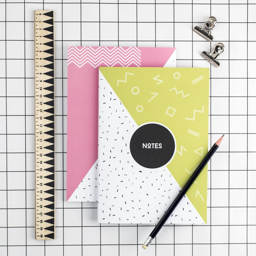 80s Lime Green Memphis Notebook - Kate & The Ink - Braw Wee Emporium