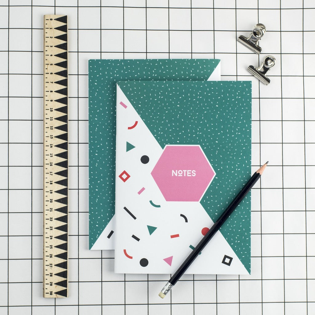 80s Green Memphis Notebook - Kate & The Ink - Braw Wee Emporium