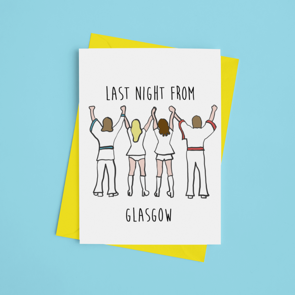 Last Night from Glasgow Greeting Card - Braw Wee Emporium Braw Wee Emporium