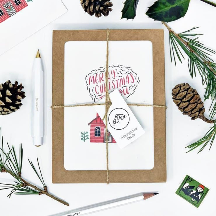 Little Log Cabin Christmas Card Pack- Lomond Paper Co Braw Wee Emporium