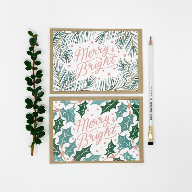 Merry & Bright Christmas Card Pack- Lomond Paper Co - Braw Wee Emporium