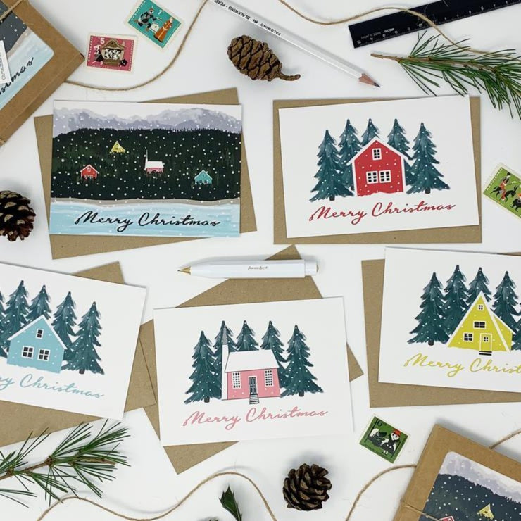 Scandi Houses Christmas Card Pack- Lomond Paper Co Braw Wee Emporium