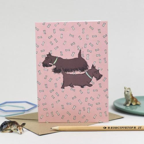 Scotty Dog Greetings Card - Laura Frame - Braw Wee Emporium