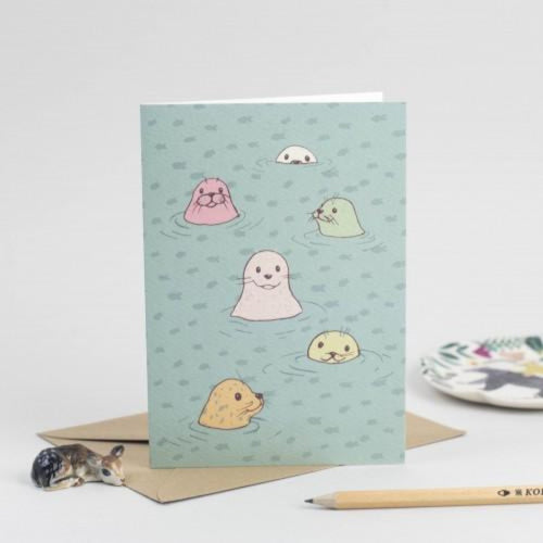 Seals Greeting Card - Scottish Draws Braw Wee Emporium