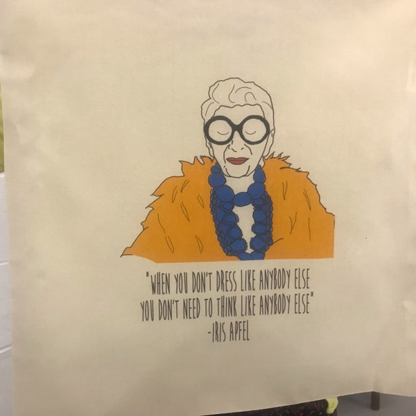"Iris Apfel ""When you don't dress like everybody else.."" Tote Bag - Steamboats Design Braw Wee Emporium"