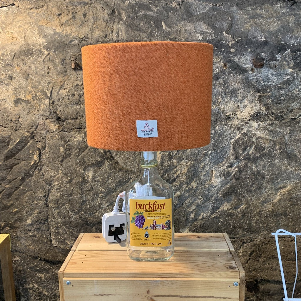 Mini Buckfast (Buckie) Bottle Lamp with Harris Tweed Lampshade - Braw Wee Emporium Braw Wee Emporium