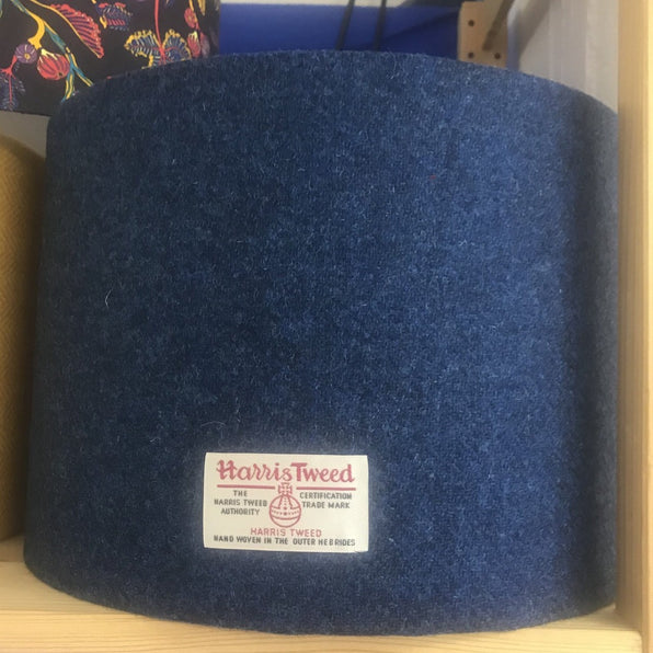 Navy Harris Tweed Lampshade - 30cm Drum Lampshade - Braw Wee Emporium