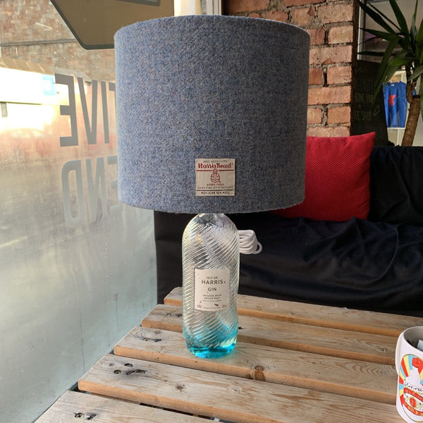 Ice Blue Harris Gin Lamp with Harris Tweed