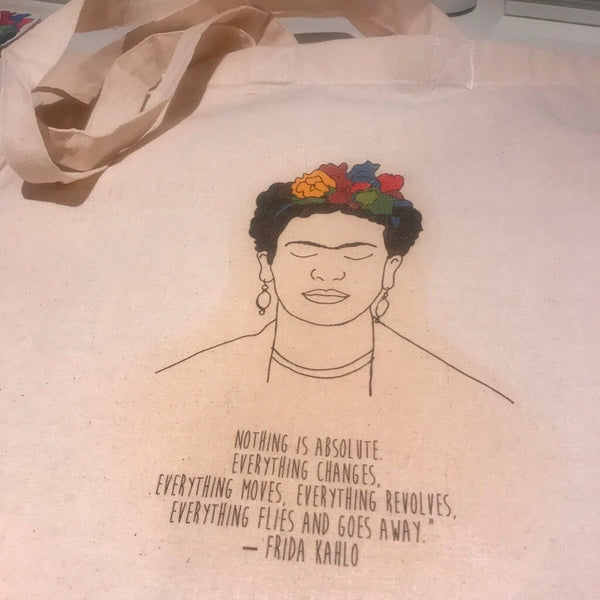 Frida Kahlo 'Nothing is Absolute' Colour Tote Bag - Steamboats Design - Braw Wee Emporium
