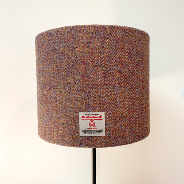 Autumn Coloured Harris Tweed Lampshade -  Drum Lampshade - Braw Wee Emporium