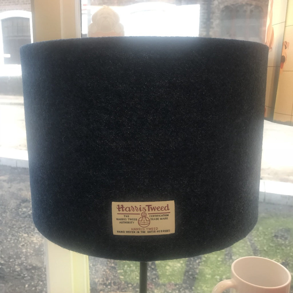 Navy Harris Tweed Lampshade - Drum Lampshade Braw Wee Emporium