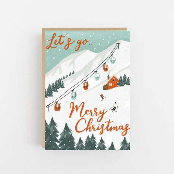 Let's Go - Merry Christmas Skiing Card - Lomond Paper Co Braw Wee Emporium