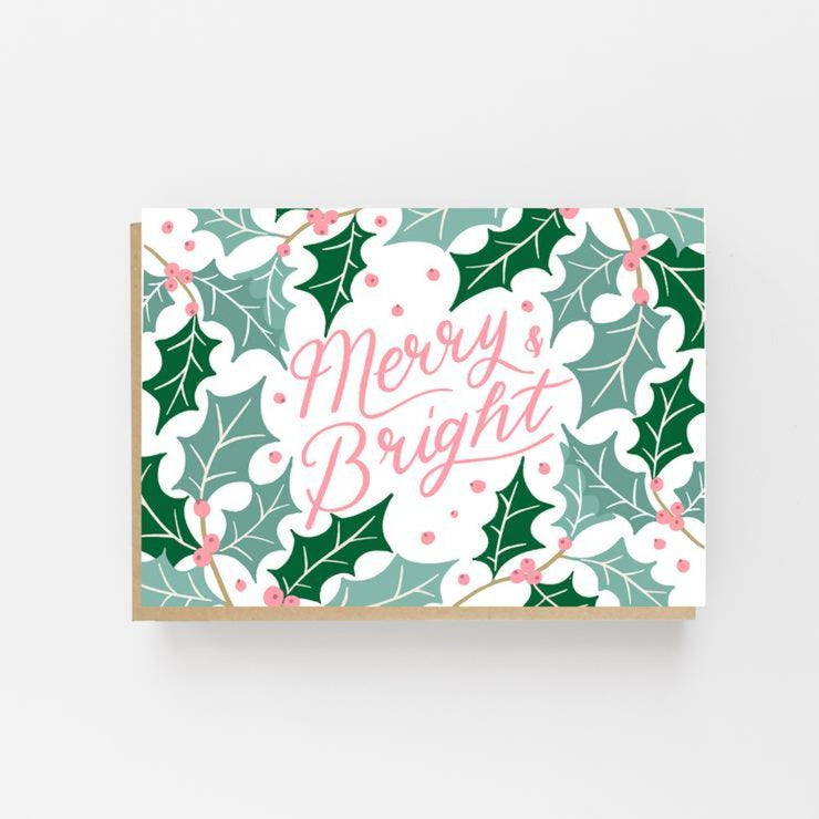 Merry & Bright Holly Christmas Card- Lomond Paper Co - Braw Wee Emporium