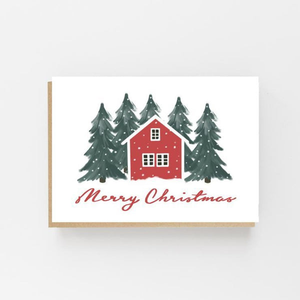 Scandinavian Red House Greeting Card - Lomond Paper Co Braw Wee Emporium