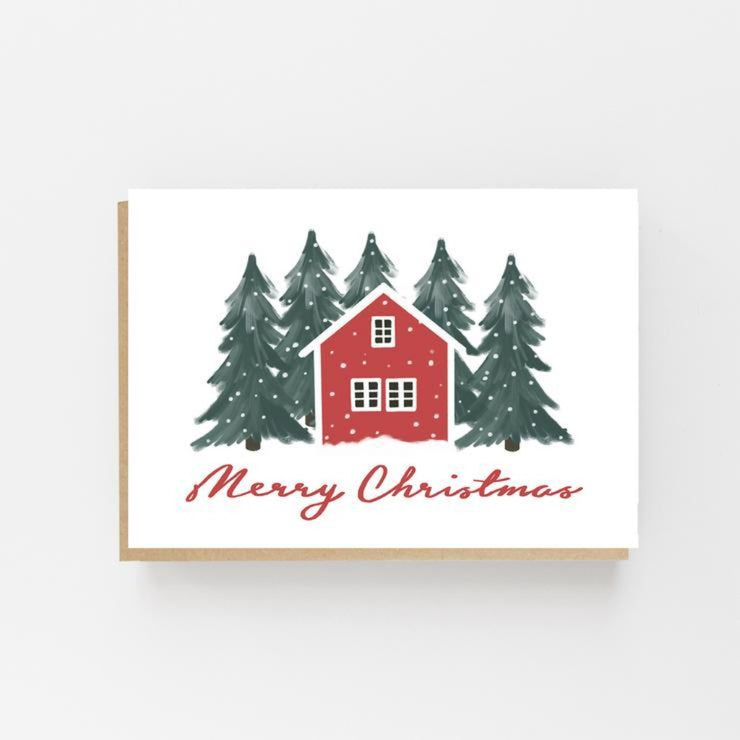 Scandinavian Red House Greeting Card - Lomond Paper Co - Braw Wee Emporium