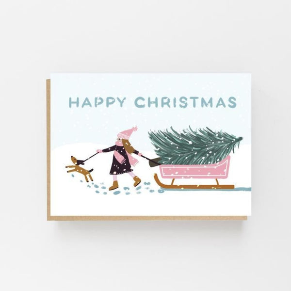 Girl with Pink Sledge - Happy Christmas Card- Lomond Paper Co Braw Wee Emporium