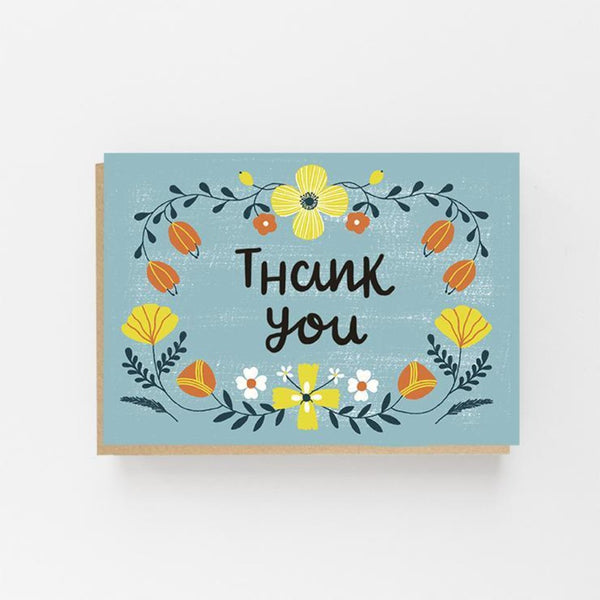 Thank You - Colourful Folk Greeting Card - Lomond Paper Co Braw Wee Emporium