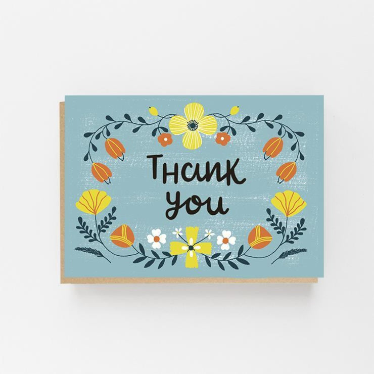 Thank You - Colourful Folk Greeting Card - Lomond Paper Co - Braw Wee Emporium