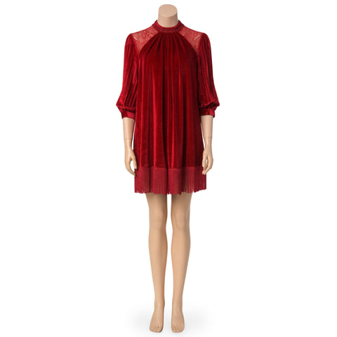 Red Velvet Fringe Dress