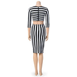 Sexy Black and White Striped Bodycon Dress