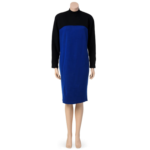 Vintage Electric Blue and Black Mod Dress