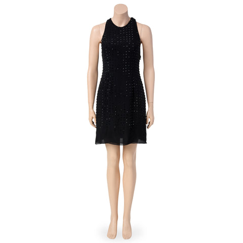 Beaded Silk Little Black Cocktail Dress