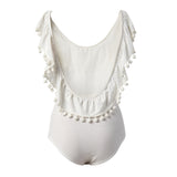 White Bodysuit with Pom Pom Ball Trim