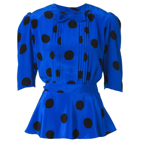 Vintage Electric Blue Blouse with Black Polka Dots and Bow Tie