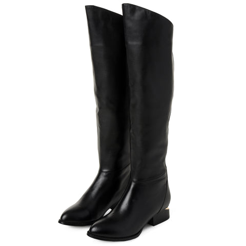Black Leather Over the Knee Boots with Gold Heel
