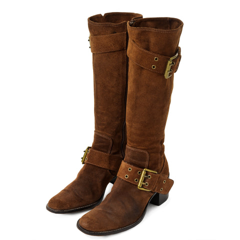 Brown Suede Motorcycle Boots