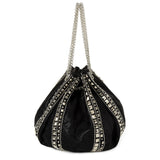 Black Studded Bucket Purse