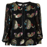 Vintage Black Sheer Blouse with Multi-Color Metallic Embellishment