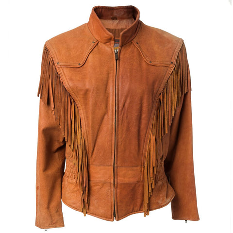Vintage Tan Leather Fringe Motorcycle Jacket