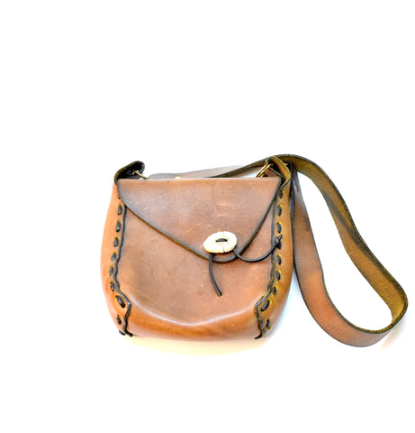 Vintage Brown Leather Cross Body Purse