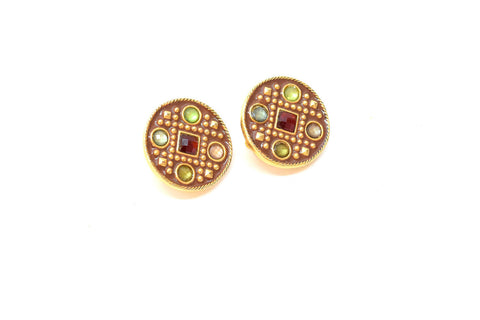 Gold and Multi-Color Stone Clip On Earrings
