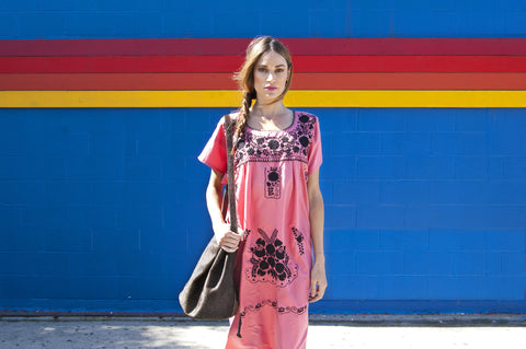 Authentic Handmade Pink Mexican Puebla Dress