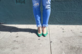 Vintage Teal Suede Pumps