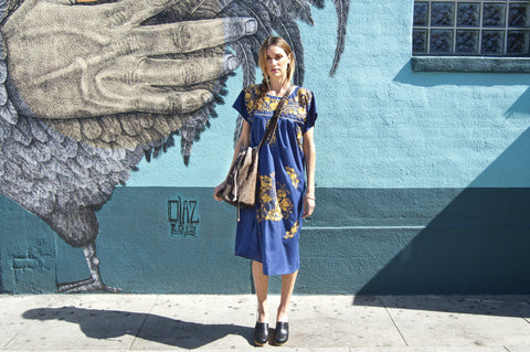 Authentic Handmade Blue and Gold Mexican Puebla Dress
