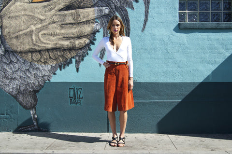 Vintage Burnt Orange Suede Culotte Shorts