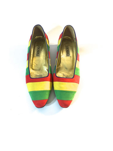 Vintage Escada Stripped Suede Flats