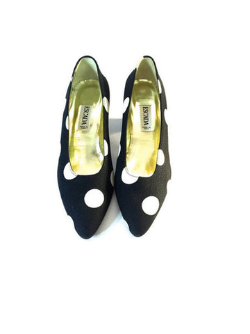 Vintage Escada Black and White Polka Dot Pumps