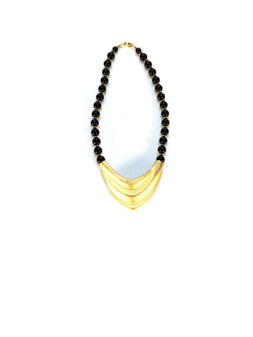 Black Beaded Necklace with Gold Medallion
