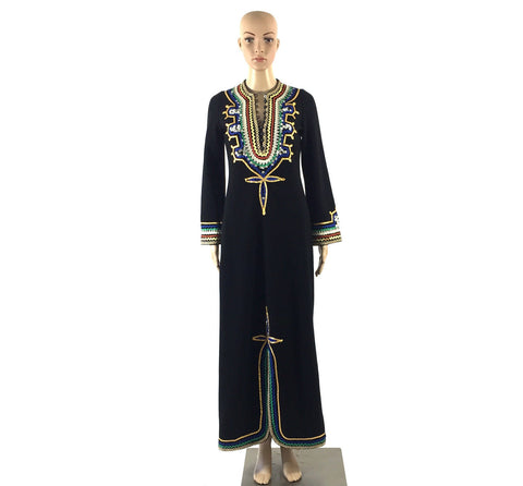 Black Kaftan Dress with Sequins