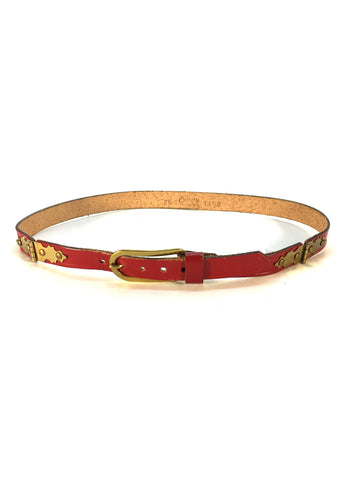 Vintage Red Leather Belt with Gold Hardware