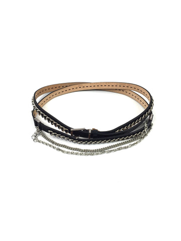 Barbara Bui Black Leather Chain Wrap Belt